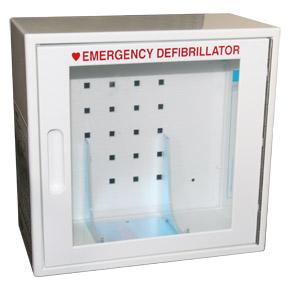 Defibrillatior storage cabinet
