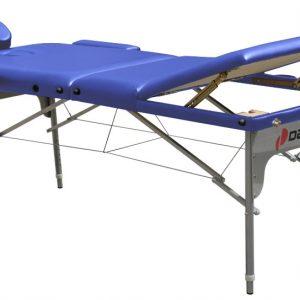 מיטת טיפולים מאלומיניום+ראש מתרומם+תוספות-מלבנית דגם DKR353 כחולה